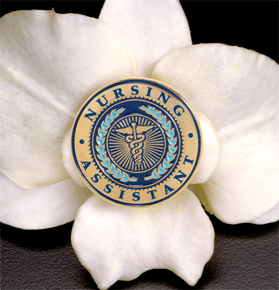 Nursing Assistant Lapel Pin on Flower